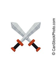 Crossed swords icon in flat style isolated on white background. Arms vector illustration