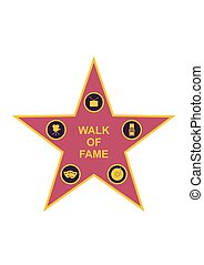 Walk of fame star and icons isolated on white background....