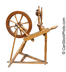 Spinning wheel - Old spinning wheel isolated on white with...