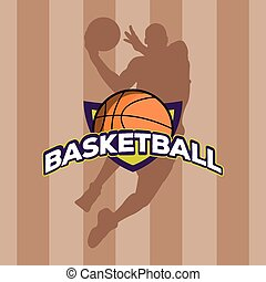 Isolated basketball emblem on a field background, Vector...