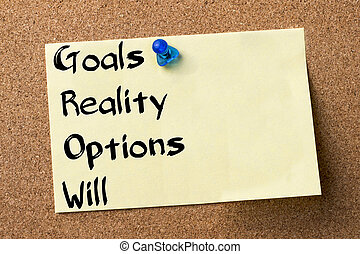 Goals Reality Options Will GROW - adhesive label pinned on bulletin board