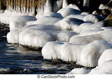 Sea coastline with icy stones