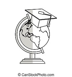 earth planet icon - earth planet with graduation cap over...