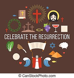 Celebrate the resurrection of jesus, info graphic for easter...
