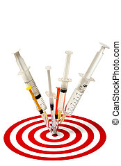 Syringes and Target - Syringes and target isolated on white...