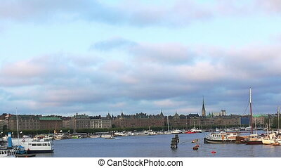 Bridge with crown to Skeppsholmen island, Stockholm, Sweden....