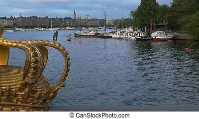 Bridge with crown to Skeppsholmen island, Stockholm, Sweden....