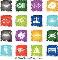 Racing icon set - Racing simply symbols in grunge style for...