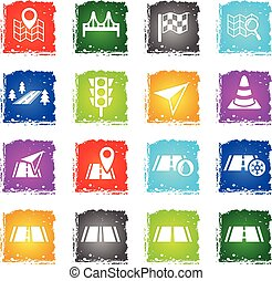 road icon set - road web icons in grunge style for user...