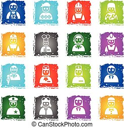 occupation icon set - occupation web icons in grunge style...