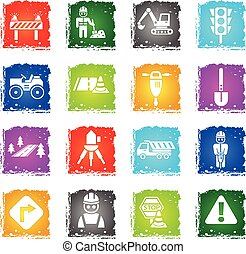 road repairs icon set - road repairs web icons in grunge...