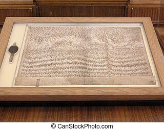 Magna Carta as viewed through a display case