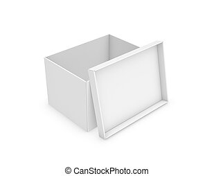 3d rendering of a white rectangle box with a lid leaning on...