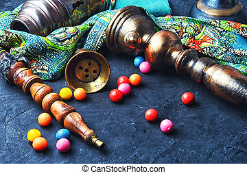 hookah and bubble gum - vintage turkish hookah and colorful...
