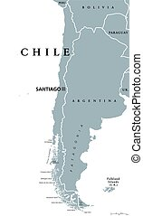 Chile political map with capital Santiago, national borders...