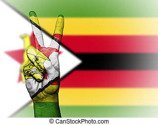 Peace Symbol with National Flag of Zimbabwe