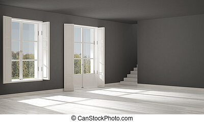 Empty room with windows and stairs, minimalist scandinavian interior design