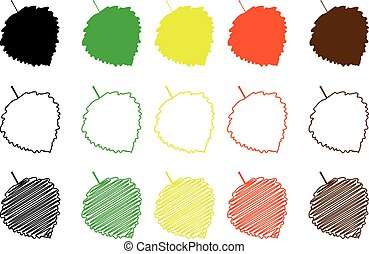 poplar aspen leaf - color set, poplar aspen leaf