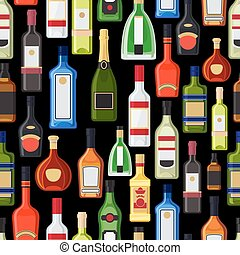 Alcohol bottles colorful pattern
