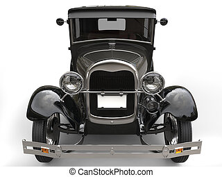 Dark grey vintage car - front view closeup shot