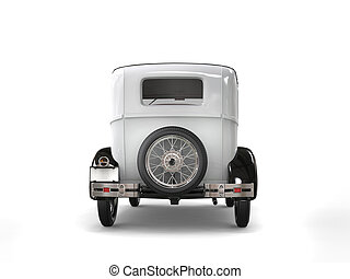 Cool oldtimer white vintage car - back view