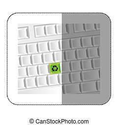 white computer keyboard with recycle symbol icon
