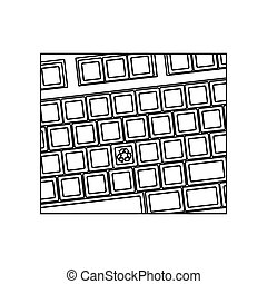 figure computer keyboard with recycle symbol icon