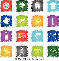 bicycle icon set - bicycle web icons in grunge style for...