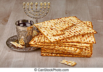 matzo with cup of wine - passover matzo with kiddush cup of...