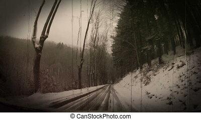 Winter road Czech Republic.