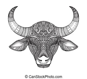 Patterned head of the bull.