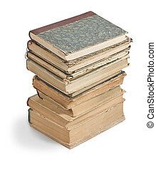 Old books in a stack