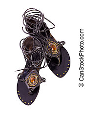 Sandals - Pair of black Elegant womans sandals isolated on...