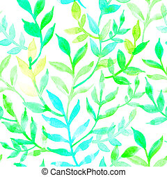 Watercolor seamless pattern leaves and branch. - Elegant...