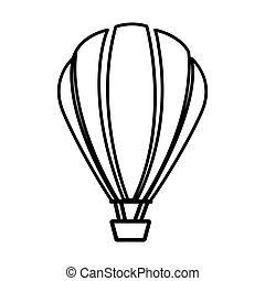 sketch contour hot air balloon icon