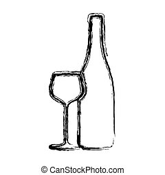 blurred sketch contour wine bottle and glass cup icon vector...