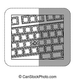 contour computer keyboard with recycle symbol icon
