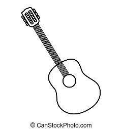 sketch contour acoustic guitar icon