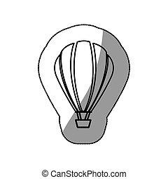 sticker sketch contour hot air balloon icon