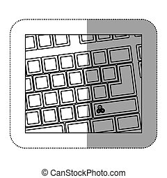 contour computer keyboard with gear symbol icon