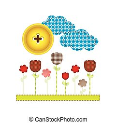 colores and figures flowers plants icon, vector...
