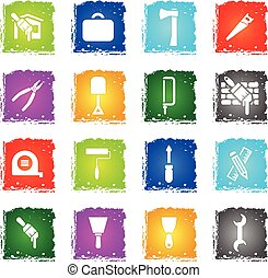 work tools icon set - work tools web icons in grunge style...