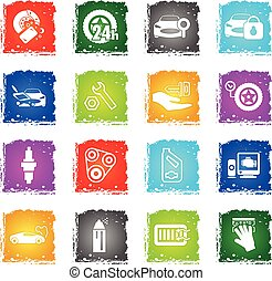 car shop icon set - car shop web icons in grunge style for...