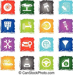 car service icon set - car service web icons in grunge style...
