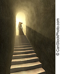 Tunnel to light - Female figure standing at the exit of an...