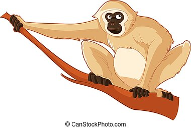 Cartoon smiling Gibbon