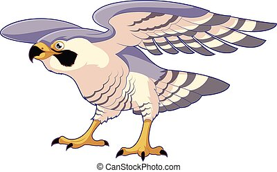 Cartoon standing falcon