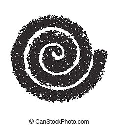 Spiral symbol hand painted with crayon