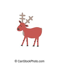 Animal based icon. Wild deer sign. Freehand drawn cartoon...