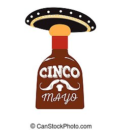 Cinco de mayo - Isolated rum bottle with a traditional hat,...